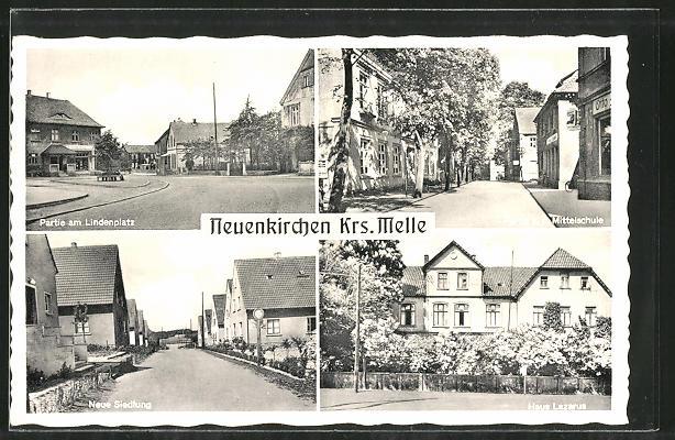 AK Neuenkirchen, Strassenpartie am Lindenplatz, Haus Lazarus, Mittelschule