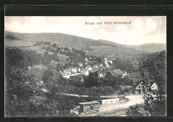AK Wald-Michelbach, Totalansicht aus der Vogelschau