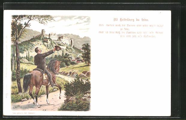 Künstler-AK Heidelberg, Reiter zieht grüssend den Hut, Blick zum Schloss