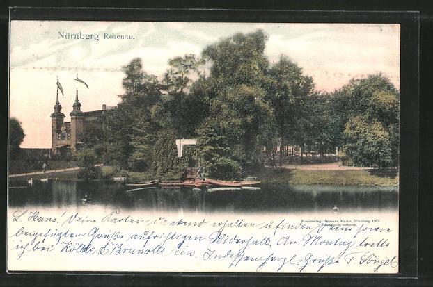 AK Nürnberg-Rosenau, Partie am Park