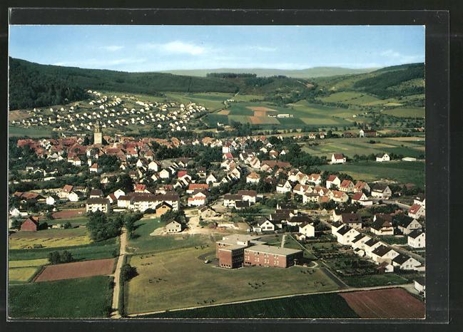 AK Zierenberg, Ortspanorama vom Berg aus gesehen