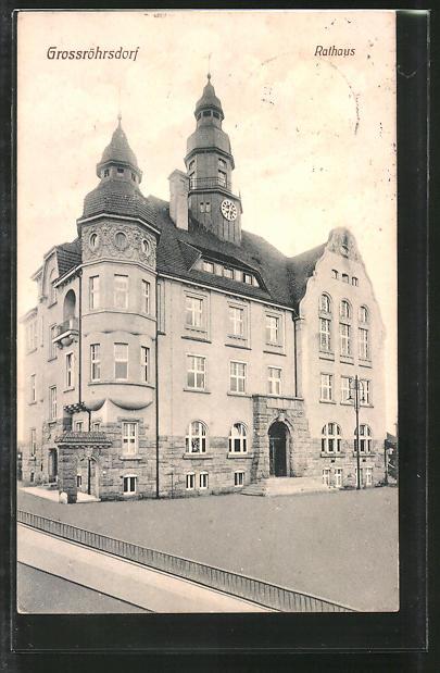 AK Grossröhrsdorf, Blick zum Rathaus