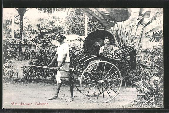 AK Colombo, Junge Frau lässt sich mit der Rikscha kutschieren