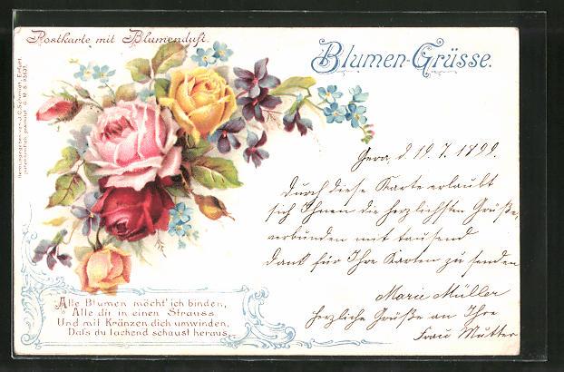 Duft-AK Postkarte mit Blumenduft, Rosen und Veilchen
