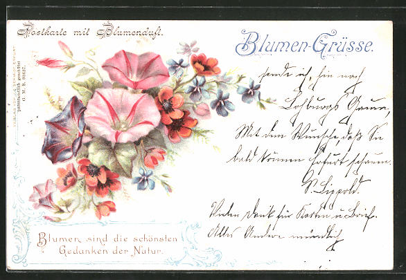 Duft-AK Postkarte mit Blumenduft, Veilchen und Mohn