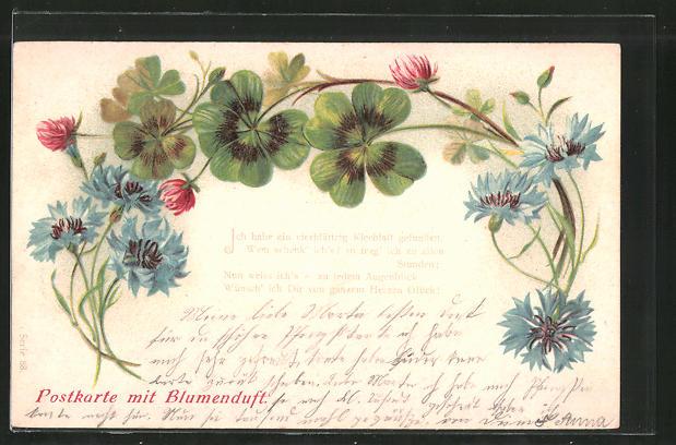 Duft-AK Postkarte mit Blumenduft, Mohn und Klee