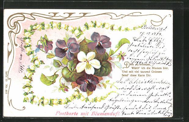 Duft-AK Postkarte mit Blumenduft, Veilchen und Maiglöckchen