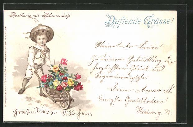 Duft-AK Postkarte mit Blumenduft, Knabe mit Schubkarre voller Blumen