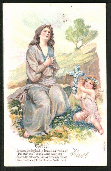 Präge-AK Frau im Seidengewand mit Engel als Allegorie für Glauben