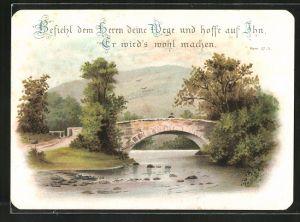Glückwunschkarte Befiehl dem Herrn deine Wege, Psalm-Bibelvers, Angler an einem Idyllischen Fluss