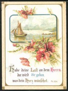 Glückwunschkarte Habe deine Lust an dem Herrn, Segelschiff auf See, Blumen und Bibelvers-Psalm
