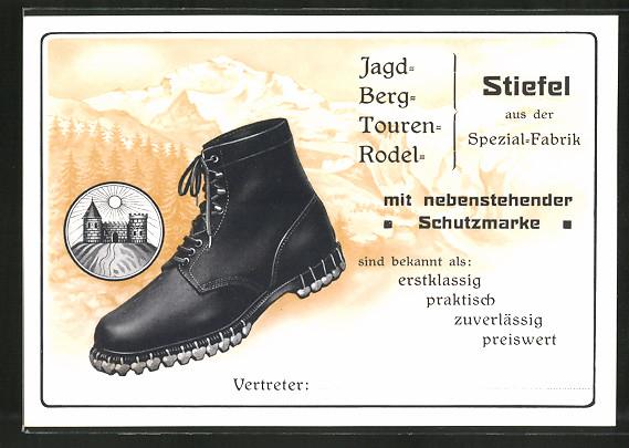 Vertreterkarte Spezial-Stiefel-Fabrik, Stiefel mit Schutzmarke vor Gebirgspanorama