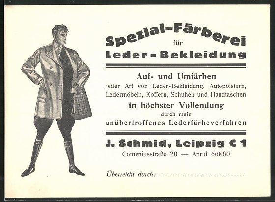 Klapp-Vertreterkarte Leipzig, Spezial-Färberei für Leder-Bekleidung, Man mit Lederjacke