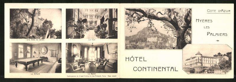 Werbebillet Hyeres Les Palmiers, Hotel Continental, Innen - und Aussenansicht, Preisliste
