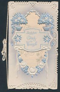 Präge-Glückwunschkarte Zur silbernen Hochzeit, Blumenverzierung