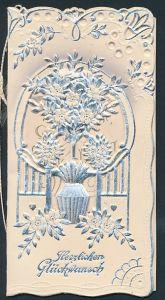 Präge-Glückwunschkarte zur silbernen Hochzeit, Verzierung mit Blumenstock, Gruss innen