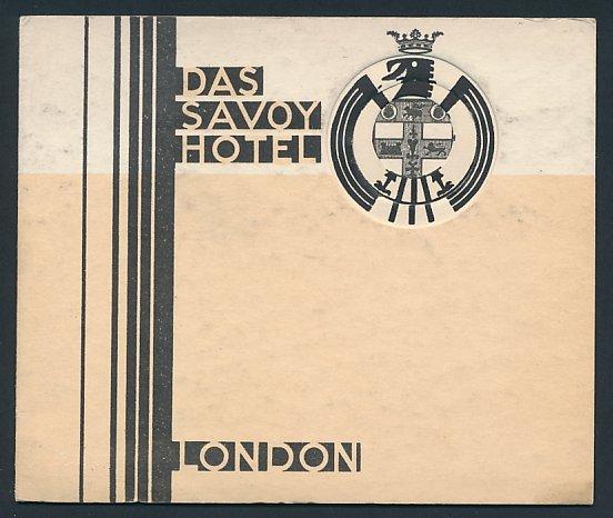 Werbebillet London, Das Savoy Hotel, Luftschiff - Zeppelin & Hotelgebäude, Preisliste innen