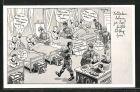 Künstler-AK Ferdinand Barlog: Soldaten werden im Lazarett von vorne bis hinten bedient