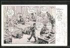 Künstler-AK Ferdinand Barlog: Kranke Soldaten werden im Lazarett von oben bis unten bedient