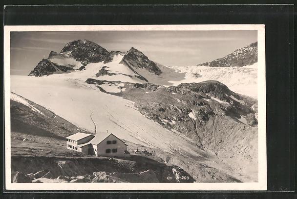 AK Wiesbadener Hütte, Berghütte mit Blick auf den Gipfel