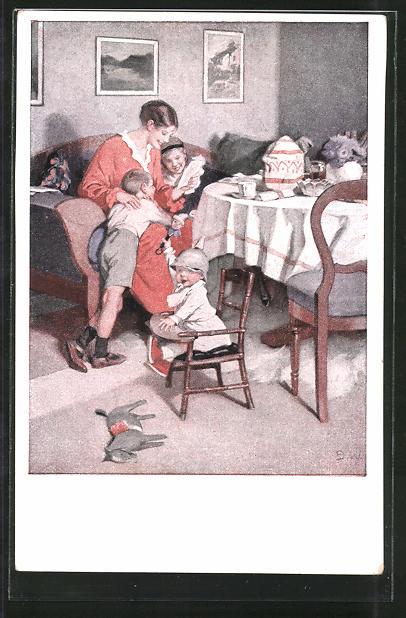 Künstler-AK Brynolf Wennerberg: Mutter liest den Kindern die Feldpost vor 0