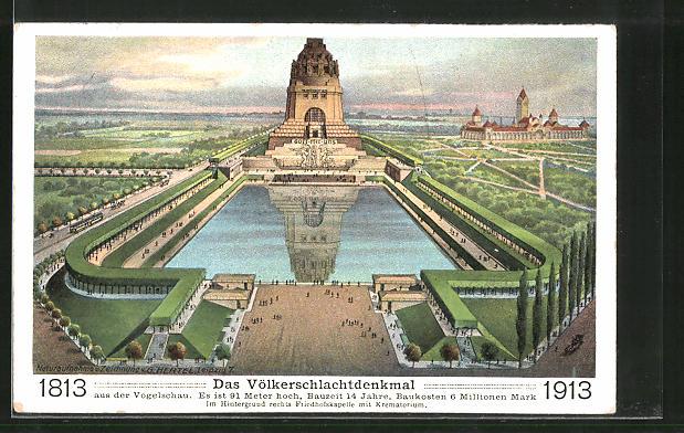Künstler-AK Leipzig, Völkerschlachtdenkmal aus der Vogelschau, 1813-1913