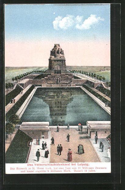 AK Leipzig, Völkerschlachtdenkmal aus der Vogelschau