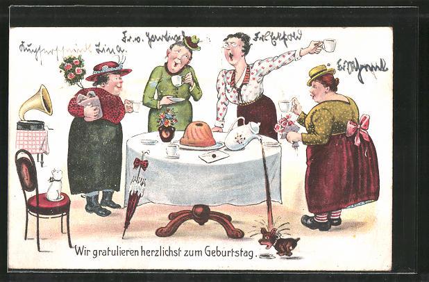 Ak Frauen Feiern Geburtstag Grammophon Nr 7377445 Oldthing