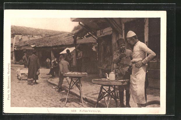 AK Kaffee-Verkäufer stehen am Strassenrand