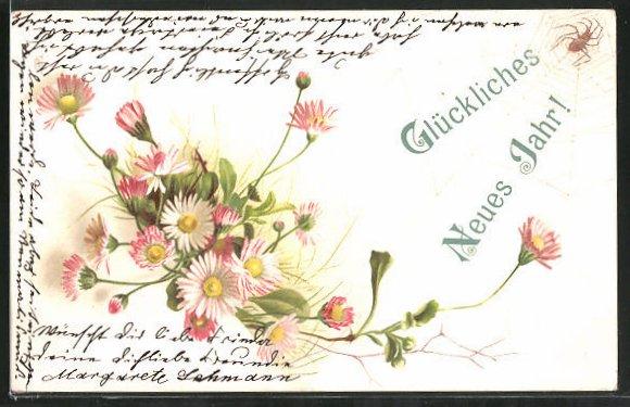 Lithographie Glückliches Neues Jahr!, Spinne und Gänseblümchen Nr ...