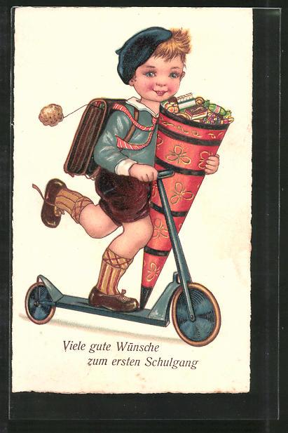 AK Viele gute Wünsche zum ersten Schulgang, Knabe mit Zuckertüte auf Tretroller
