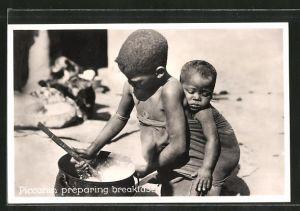 AK Afrikanischer Junge bereitet das Frühstück vor