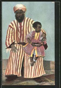 AK El Bachir y su hija, Araber mit seiner Tochter