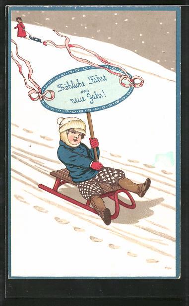 Präge-AK Kind rodelt mit einem Schild: