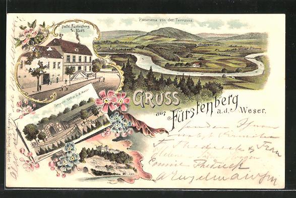 Lithographie Fürstenberg, Hotel Fürstenberg und Kues, Terrasse, Panorama von der Terrasse