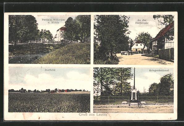 AK Lautitz, Rittergut und Mühle, Kriegerdenkmal, Dorfstrasse