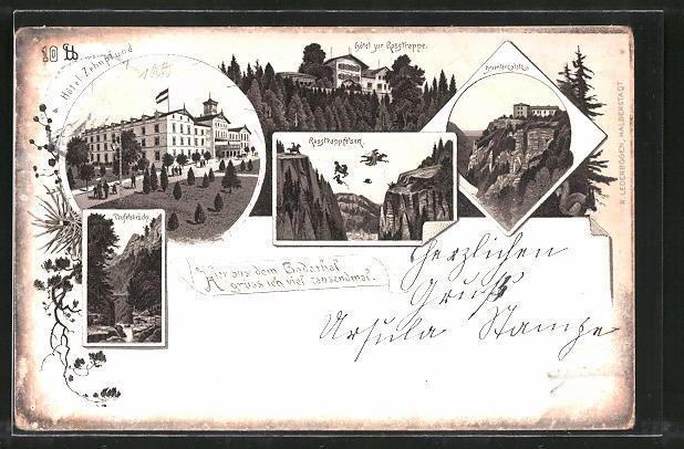 Lithographie Thale, Hotel Zehnpfund, Teufelsbrücke, Hotel zur Rosstrappe, Hexentanzplatz