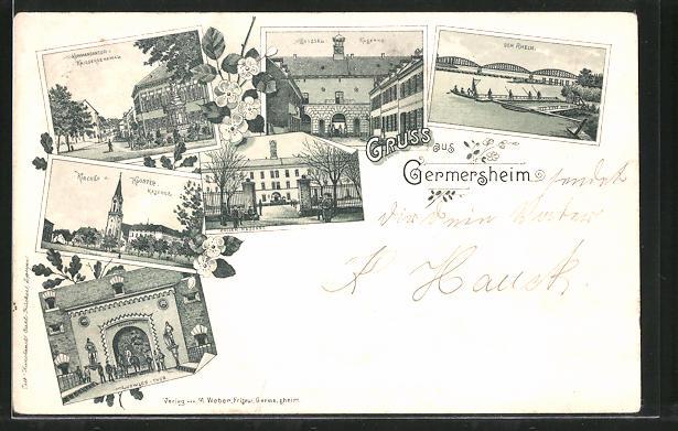 Lithographie Germersheim, Kirche und Kloster-Kaserne, Kommandantur und Kriegerdenkmal