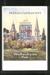 AK Wattenheim, Ansiht des Kirchturms, Wappen der Stadt, Heimatfest 1957