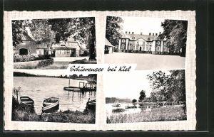 AK Schierensee, Gasthaus zur Linde, Partie am See