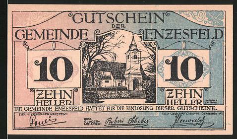 Notgeld Enzesfeld 1920, 10 Heller, Kirche