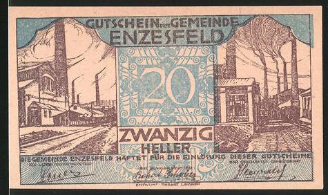 Notgeld Enzesfeld 1920, 20 Heller, Fabrikviertel