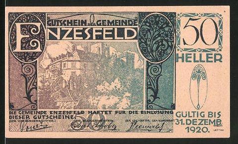 Notgeld Enzesfeld 1920, 50 Heller, Burgmotiv
