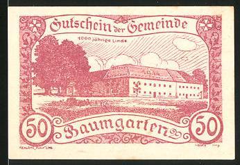 Notgeld Baumgarten 1920, 50 Heller, 1000jährige Linde