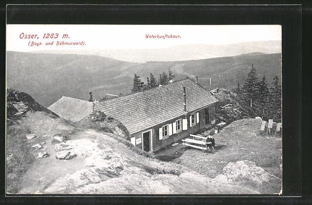 AK Unterkunftshaus am Osser mit Blick auf den Böhmerwald
