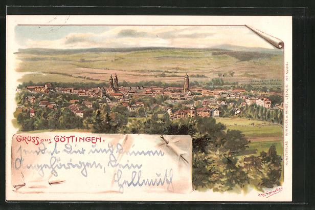 Künstler-Lithographie Erwin Spindler: Göttingen, Gesamtansicht