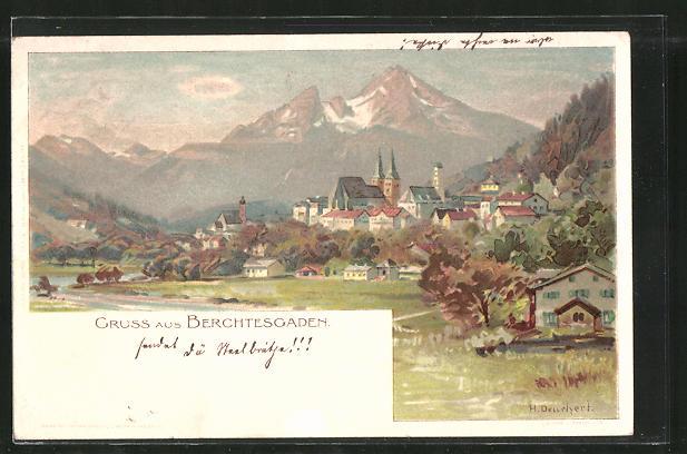 Künstler-AK Heinrich Deuchert: Berchtesgaden, Panorama mit Ort und Bergen