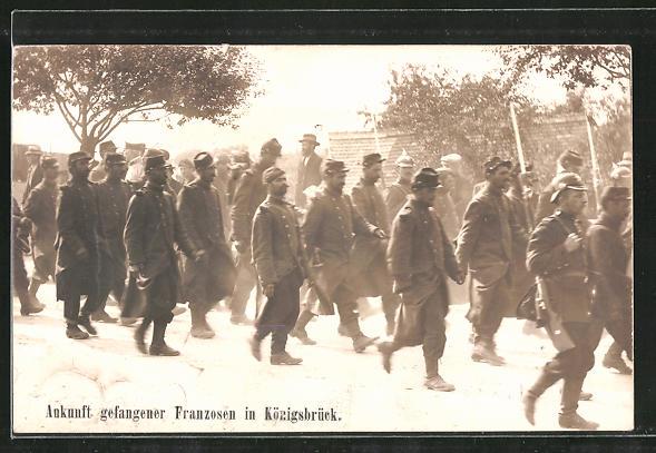 AK Königsbrück, Ankunft kriegsgefangener Franzosen