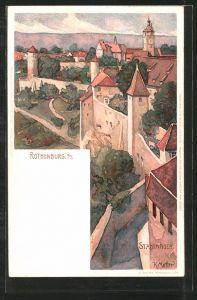 Künstler-AK Karl Mutter: Rothenburg, Partie an der Stadtmauer