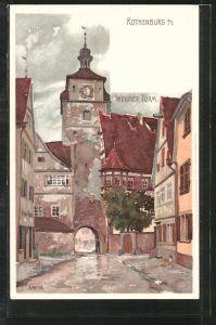 Künstler-AK Karl Mutter: Rothenburg, Blick auf den Weissen Turm